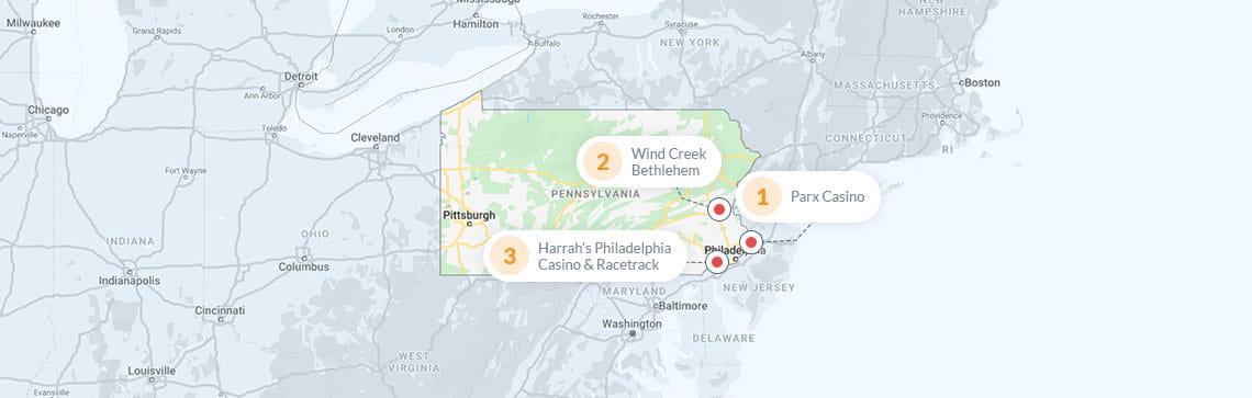 Pennsylvania state casinos map stratosphere hotel and casino las vegas nv